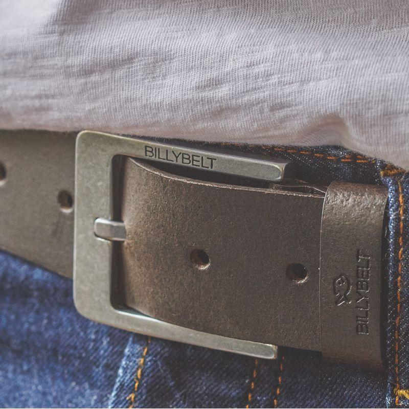 Dark brown leather belt - raw effect