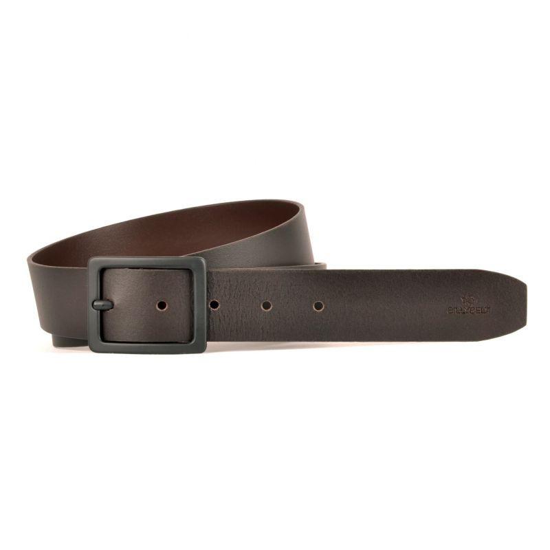 Dark brown leather belt - smooth effect