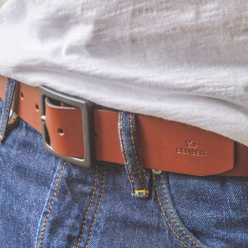 Cognac leather belt - smooth effect