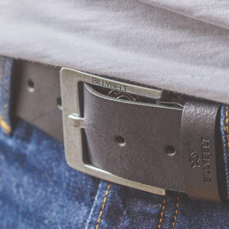 Black leather belt - raw effect