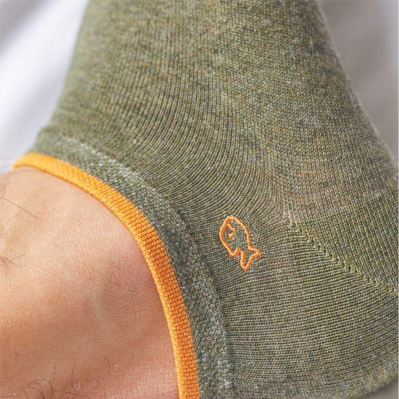 Plain mottled khaki ankle socks