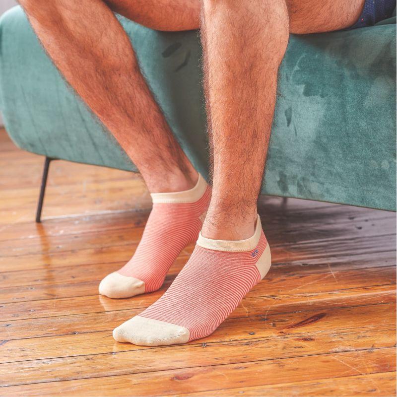 Striped orange ankle socks
