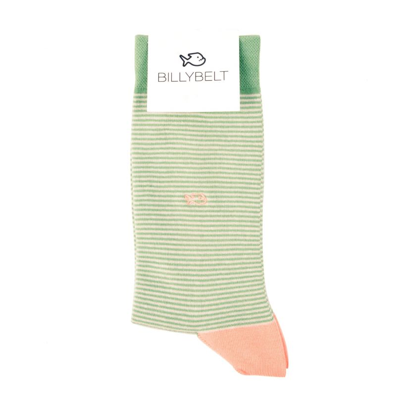 Cotton striped socks : Pistachio Green