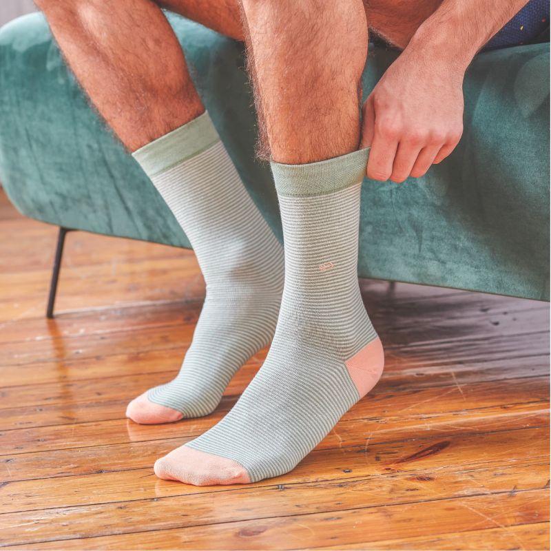 Chaussettes rayées en coton Vert pistache