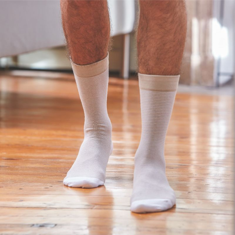 Cotton striped socks : Beige