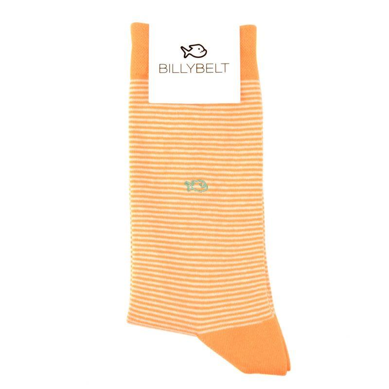 Chaussettes rayées en coton Orange