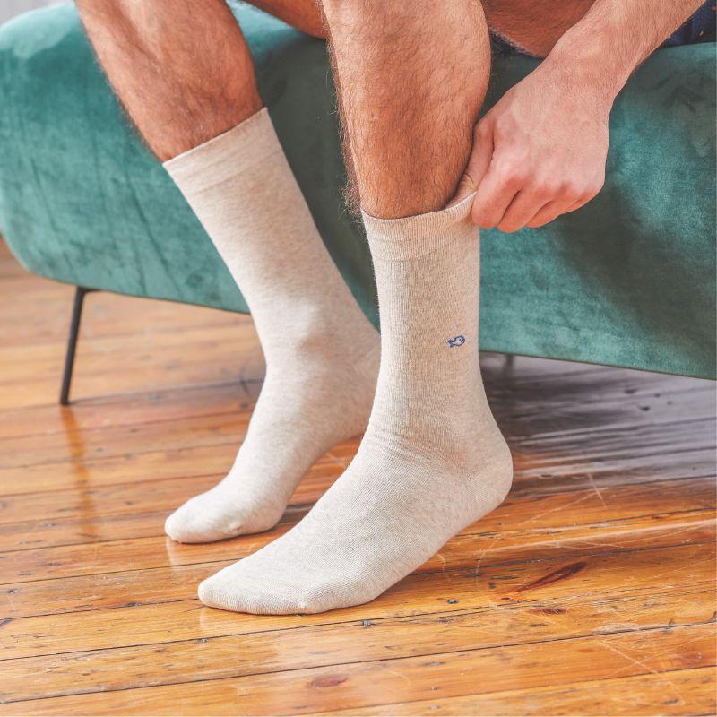 Cotton socks mottled Beige