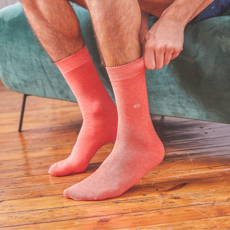 Cotton socks mottled hot coral