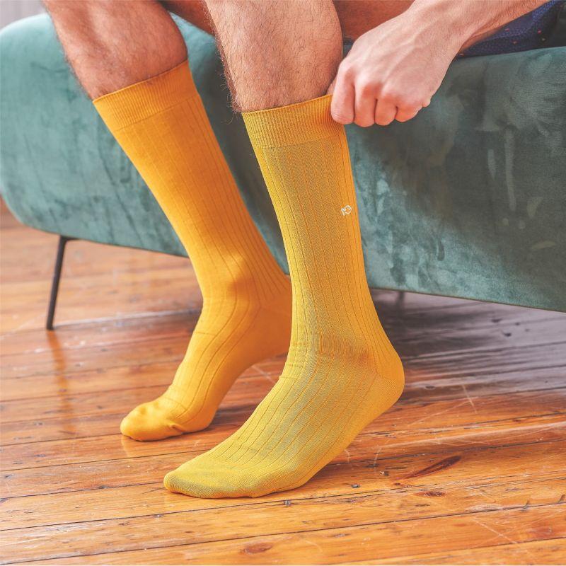 Chaussettes fil d'Écosse Moutarde