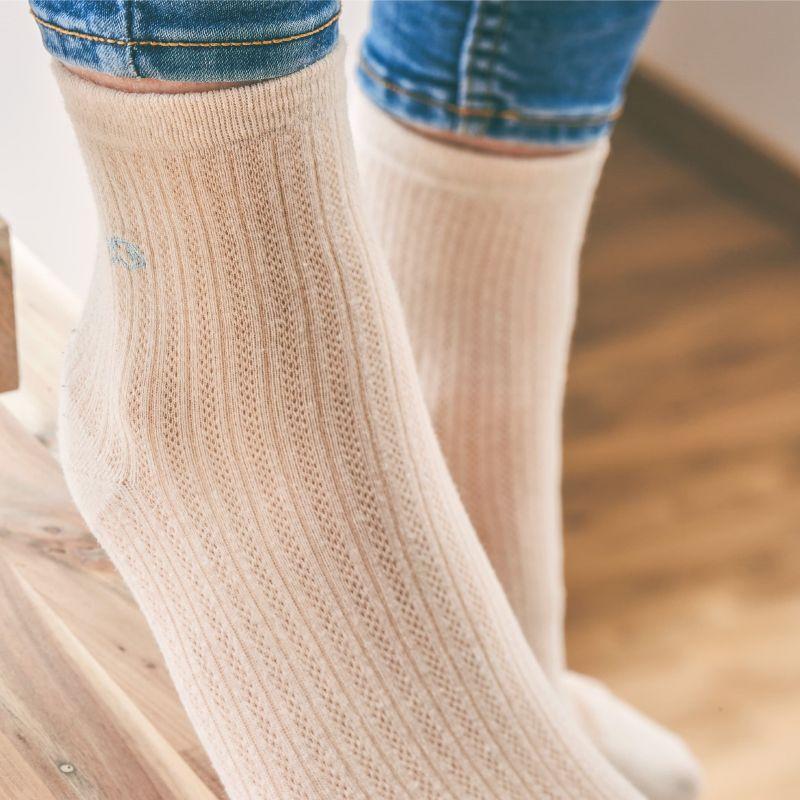 Cotton lace socks Latte white
