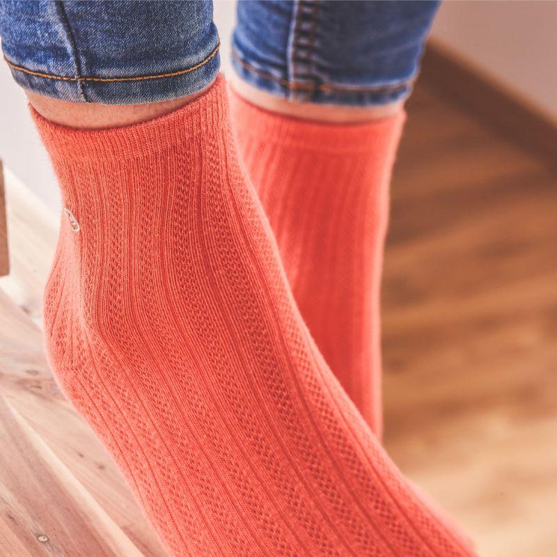 Cotton socks Lace Okra orange