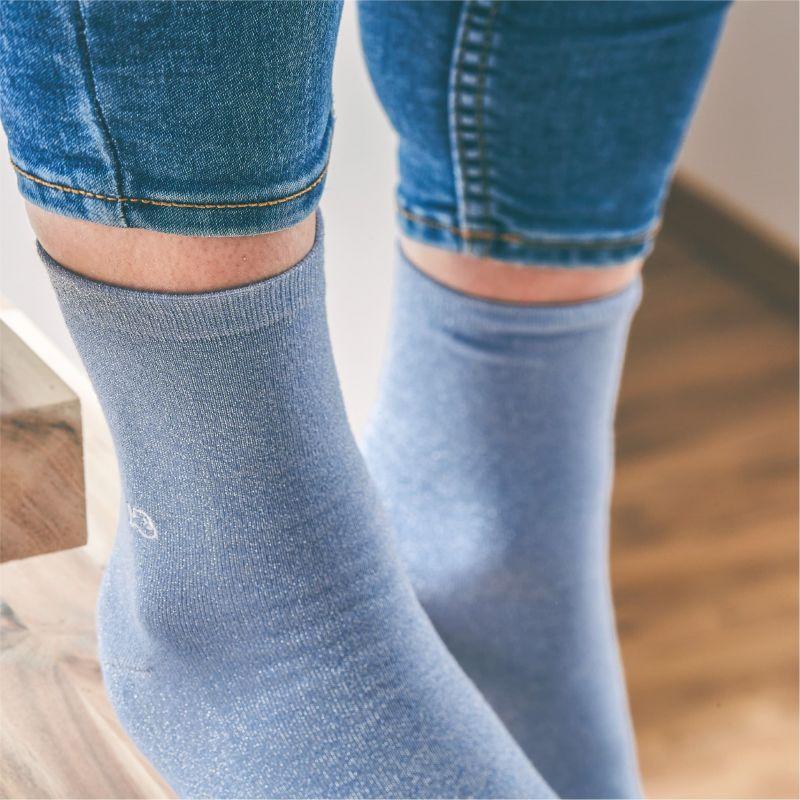 Chaussettes coton Paillettes Bleu pastel