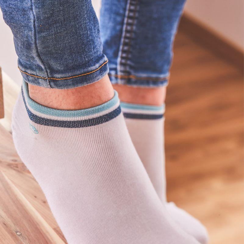 Socquettes coton Bleu clair et bleu foncé