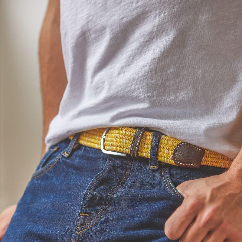 Elastic waxed cotton belt - Marmara