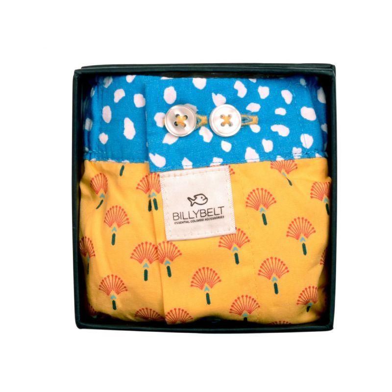 Organic cotton boxer shorts Yellow peacock