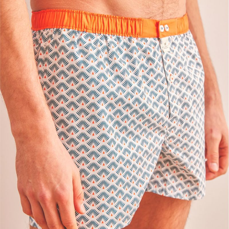 Organic cotton boxer shorts Blue leon