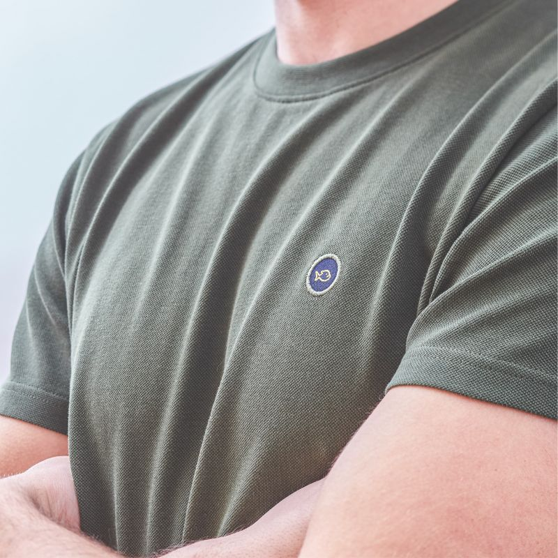 T-shirt maille piquée kaki en coton biologique – 190gr