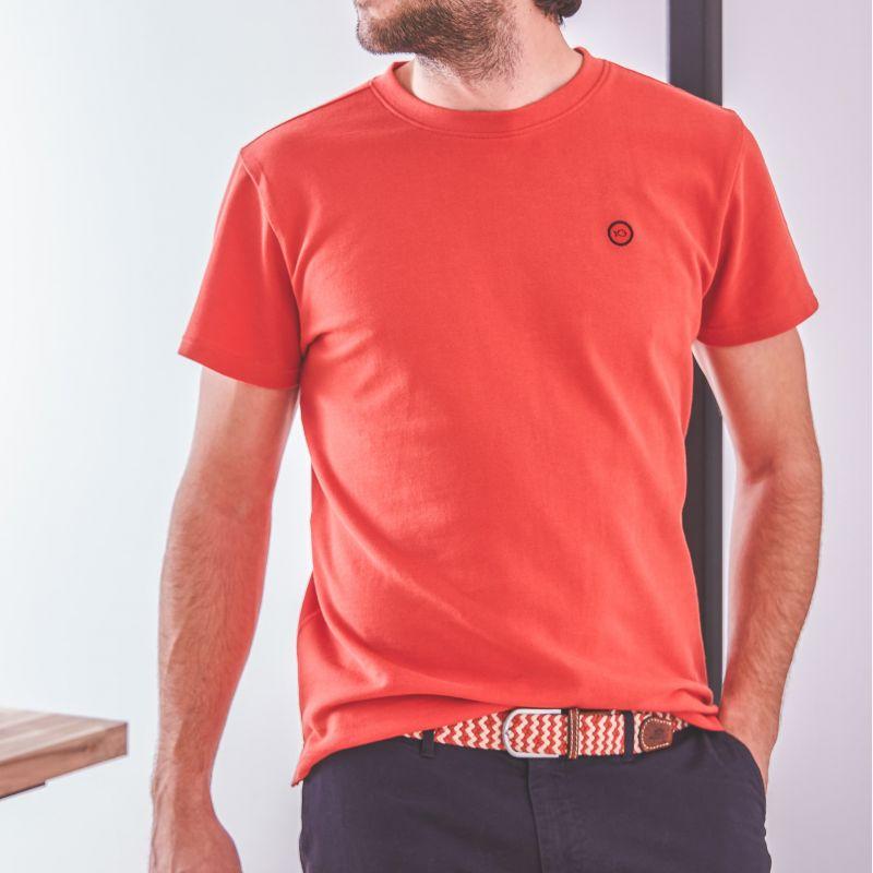 T-shirt maille piquée rouge pastèque en coton biologique – 190gr