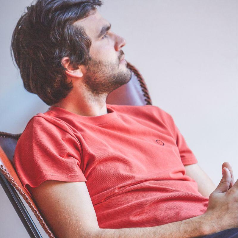 Organic cotton T-shirt knitted – navy – 190gr