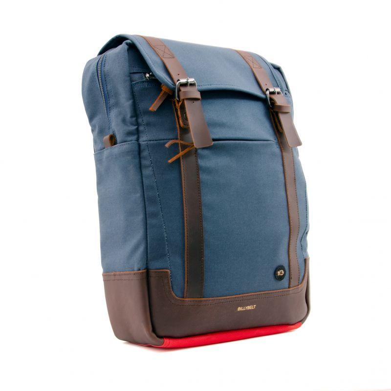 Backpack rectangular shape waxed cotton - navy blue