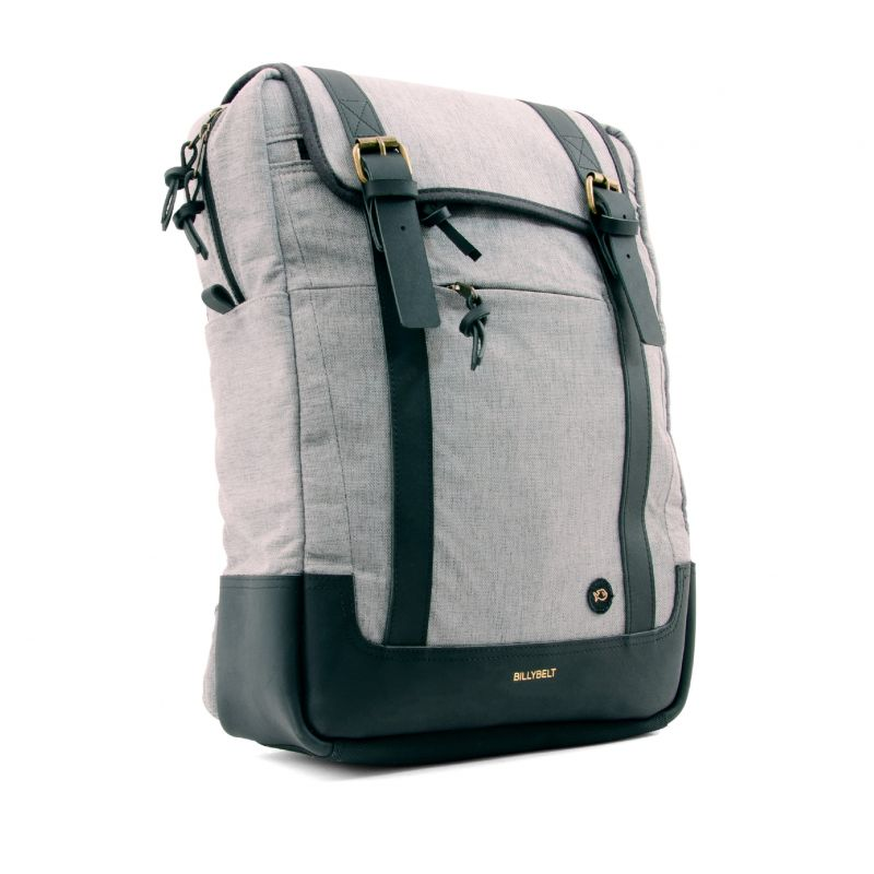 Backpack rectangular shape waxed cotton - mottled grey