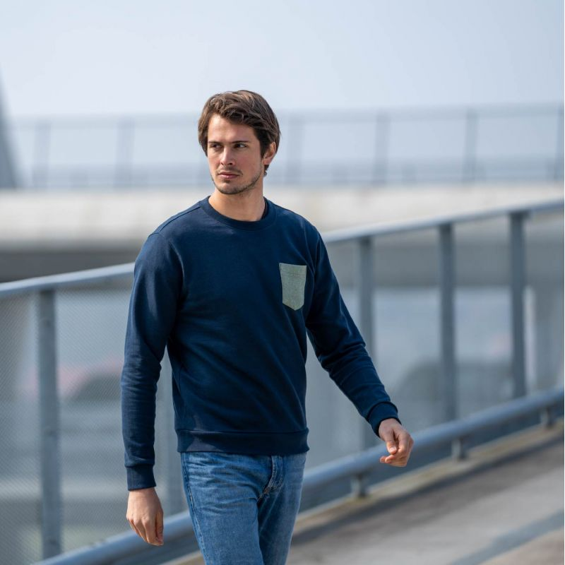 Sweatshirt bleu marine en coton biologique – 400 gr