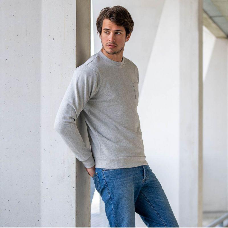 Organic cotton sweatshirt – Mottled grey – 400 gr