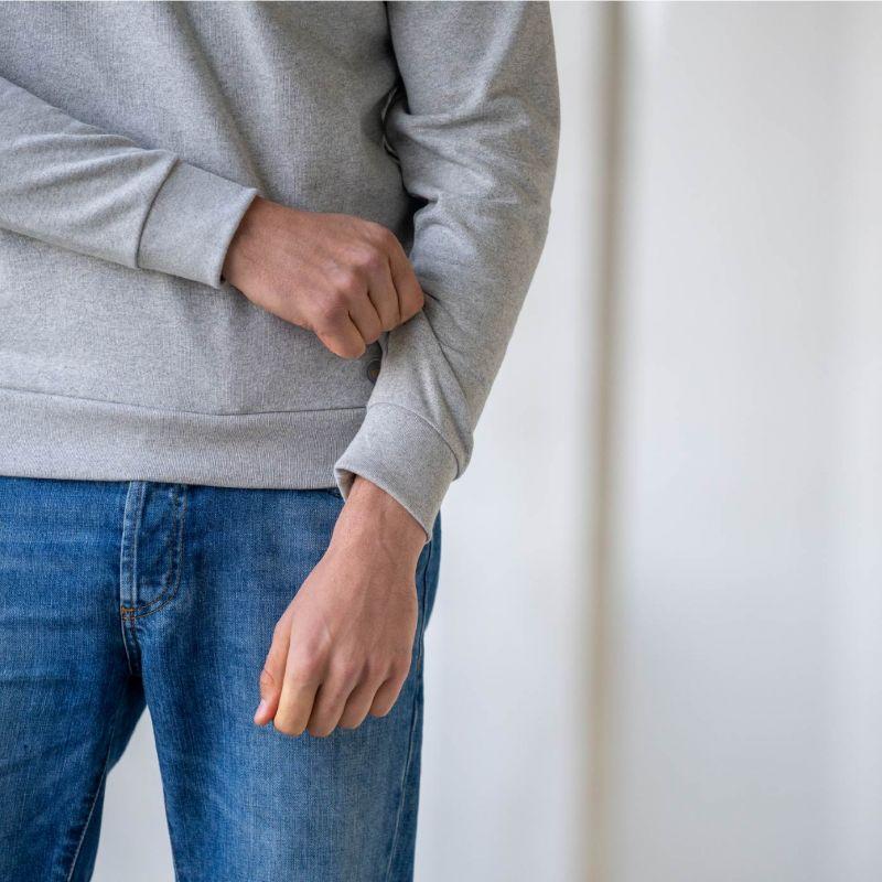 Sweatshirt gris chiné en coton biologique – 400 gr