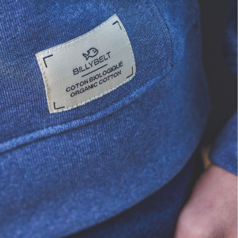 Sweatshirt bleu chiné en coton biologique – 400 gr