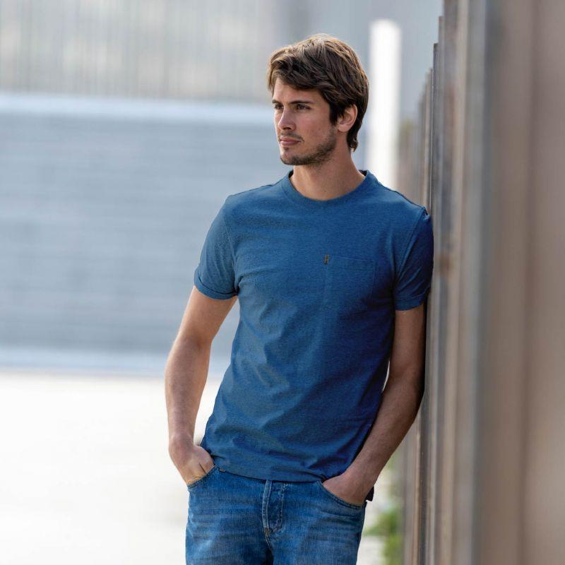 T-shirt chiné bleu marine en coton biologique – 190gr