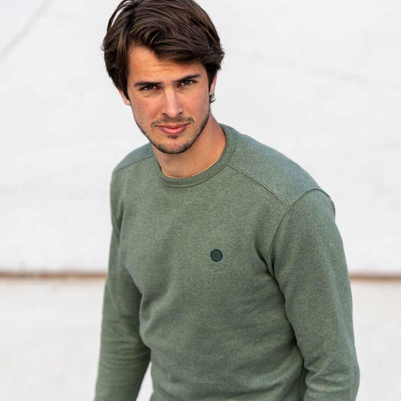 Sweatshirt kaki chiné en coton biologique – 400 gr