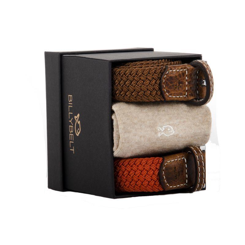 One cotton socks & two woven belts gift box