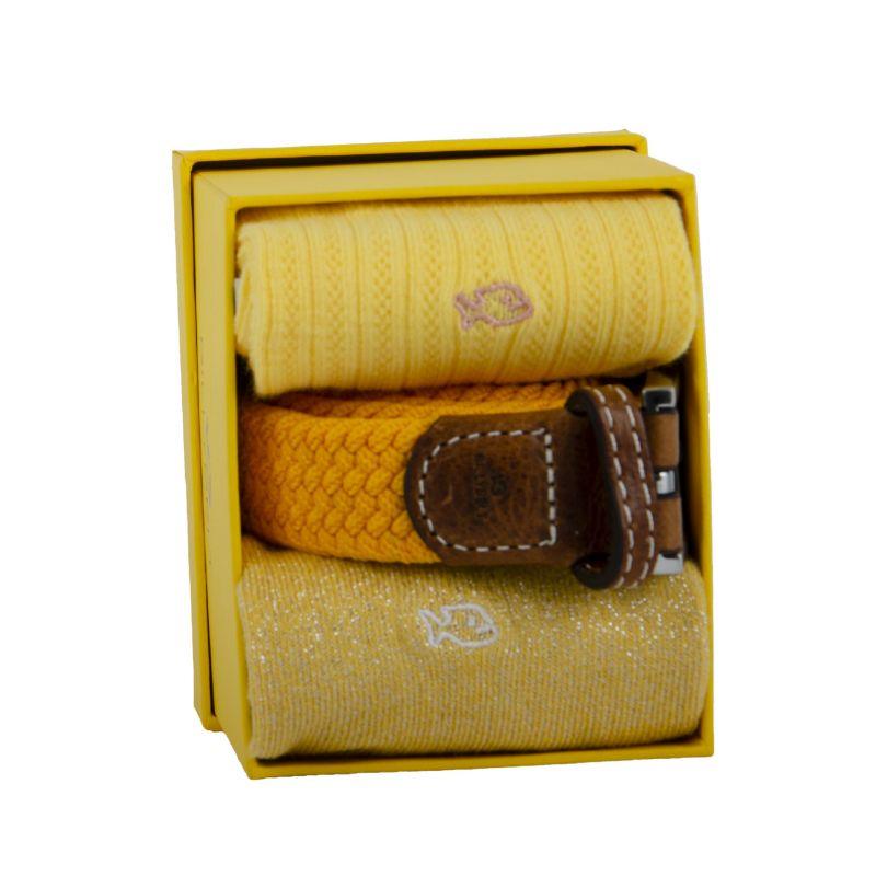 Two cotton socks & one woven belt gift box