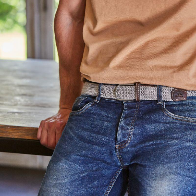 Elastic woven belt Greige