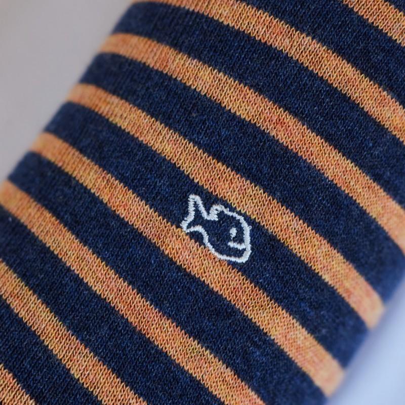 Chaussettes coton Larges Rayures Orange / Bleu Marine