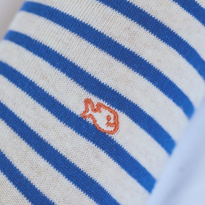 Chaussettes coton Larges Rayures Beige / Bleu Royal