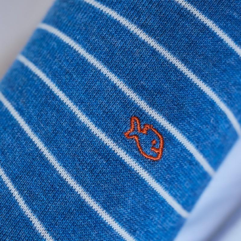 Chaussettes coton Fines Rayures Bleu Chiné / Blanc