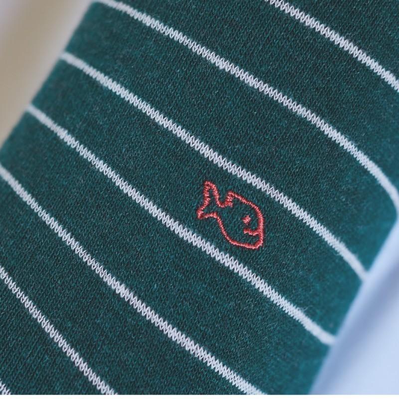 Cotton socks Thin Stripes Dark Green / Pink