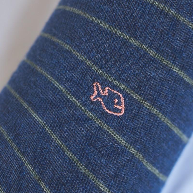 Chaussettes coton Fines Rayures Bleu / Kaki