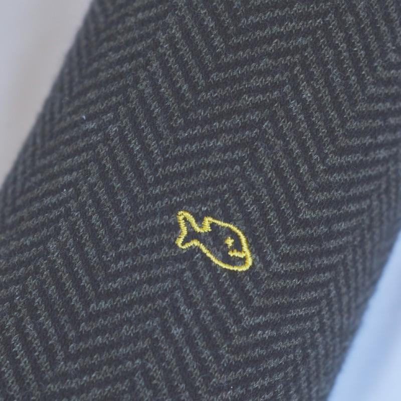 Cotton socks Khaki Herringbone