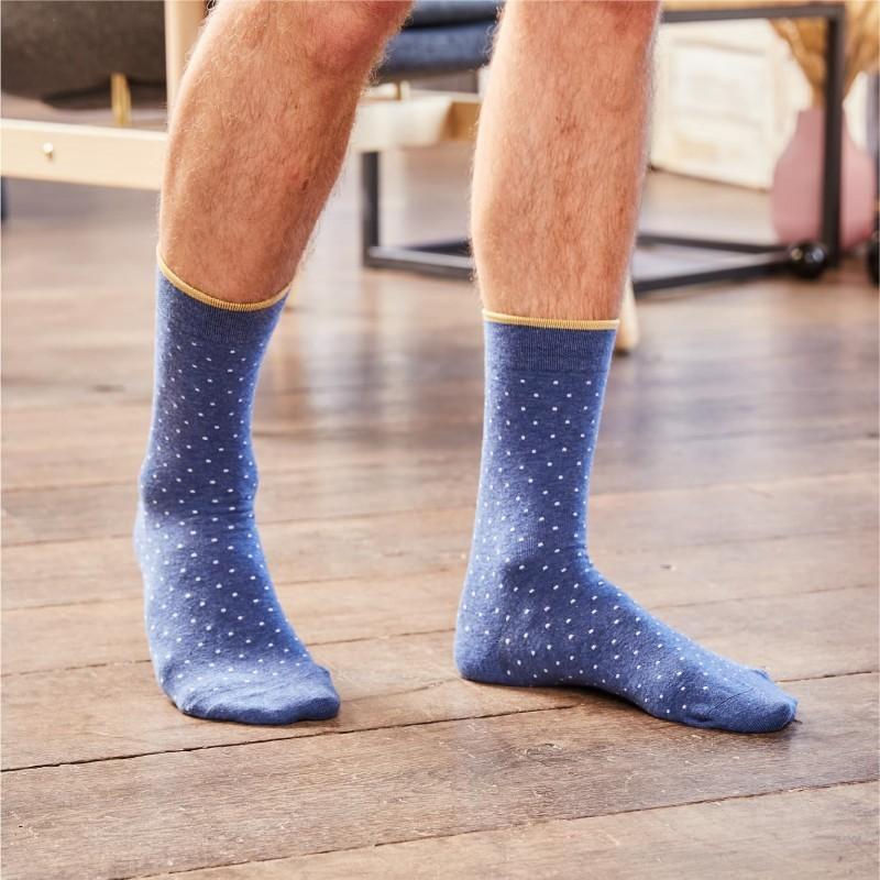 Cotton socks Mottled Blue Square