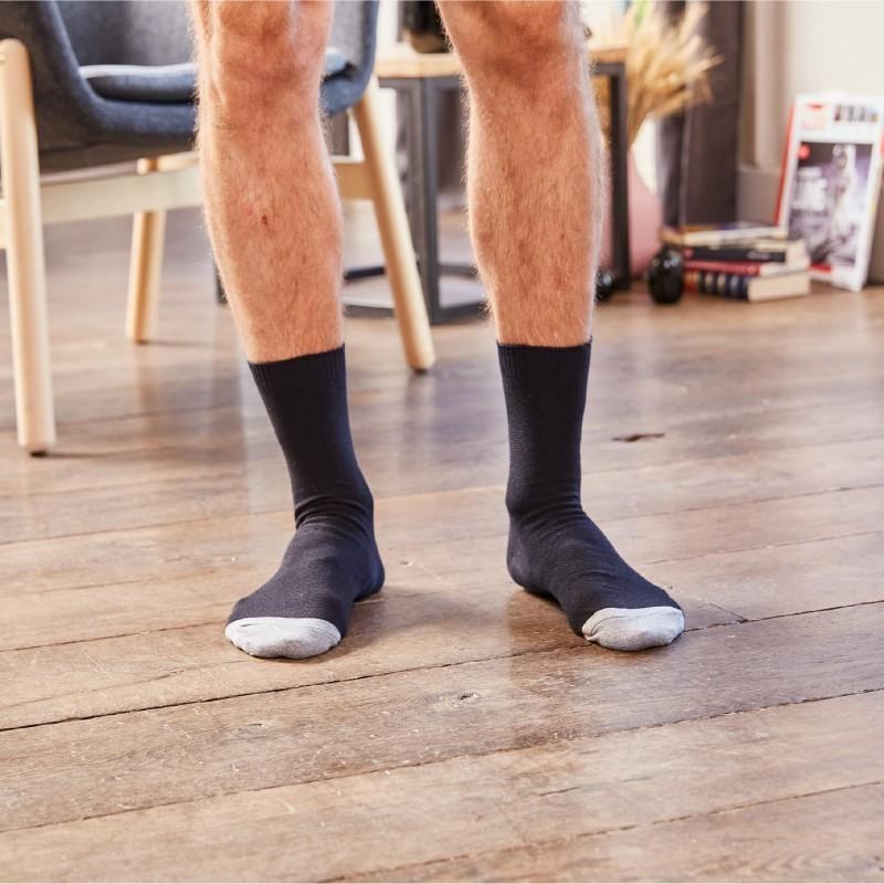 Chaussettes maille piquée  Noir et Gris