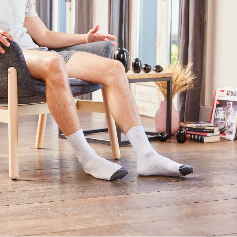 Pique knit socks Light Grey and Charcoal