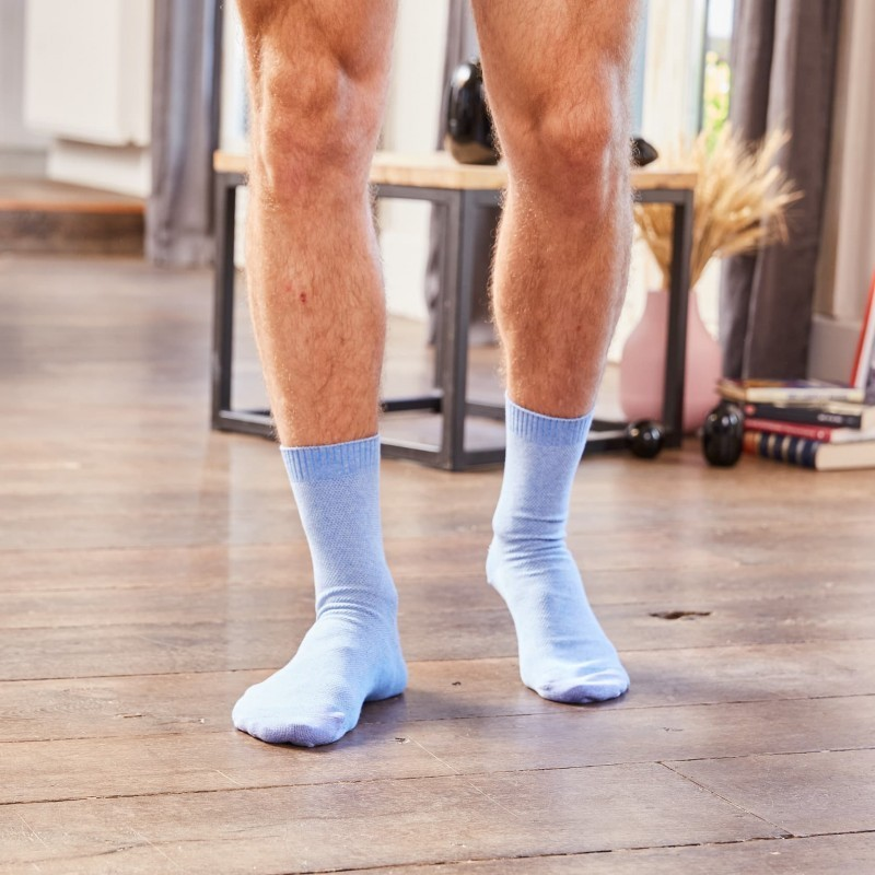 Pique knit socks Light Blue and Purple