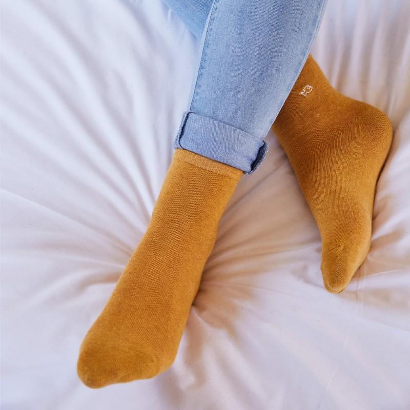Chaussettes coton chinées Moutarde