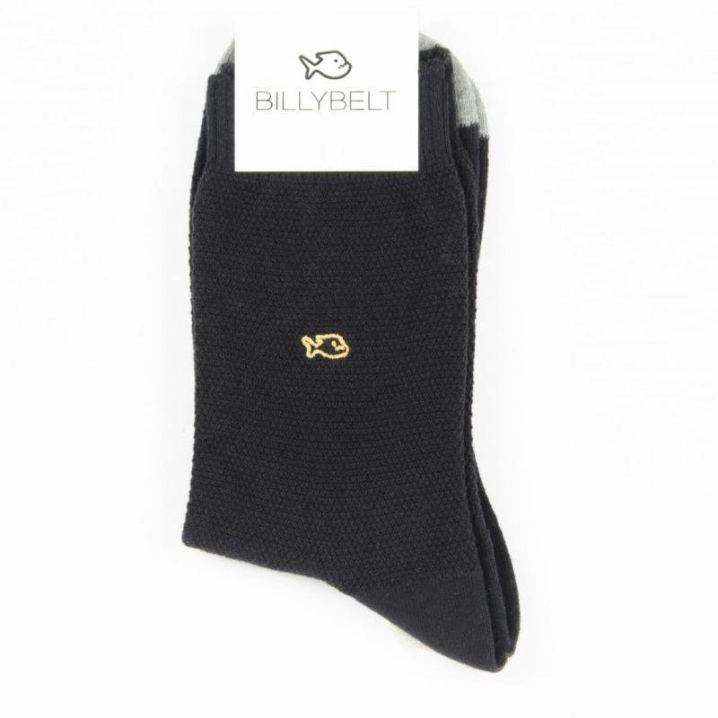 Pique knit socks Black and Grey
