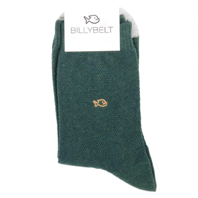 Chaussettes maille piquée Vert et Gris