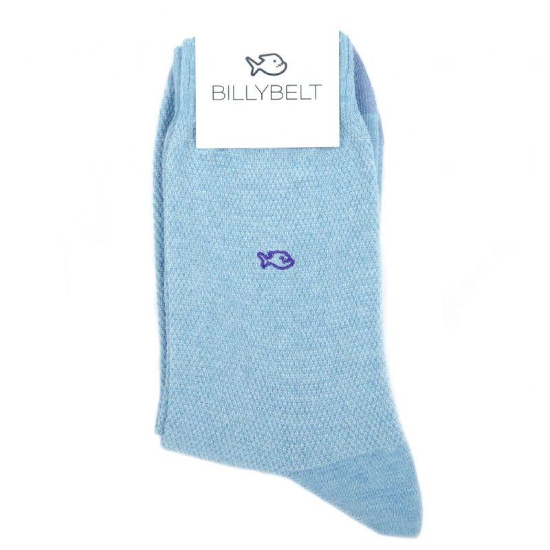 Chaussettes maille piquée Bleu Clair et Violet