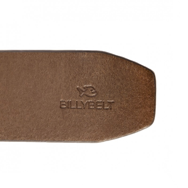Cognac leather belt - raw effect