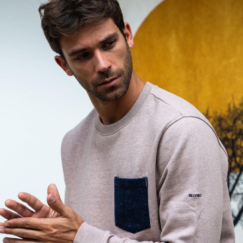 Organic cotton sweatshirt – Mottled taupe – 400 gr